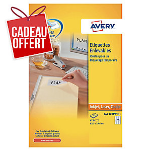 Etiquette enlevable Avery - L4737REV-25 - 63,5 x 29,6 mm - blanche - par 675