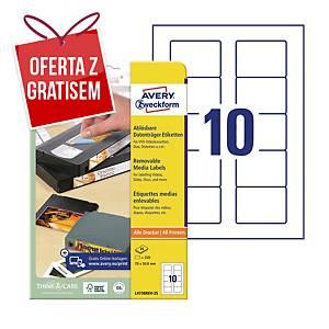 Usuwalne etykiety na dyskietki AVERY ZWECKFORM 70x50,8 mm, białe, 250 etykiet