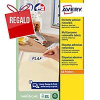 Caja 300 etiquetas removibles AVERY L4743REV-25 cantos romos 99,1x42,3 blancas