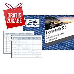 Fahrtenbuch Avery Zweckform 222, für PKW, A6 quer, 40 Blatt
