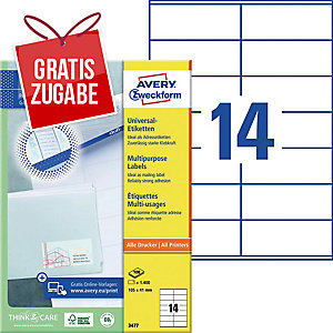 Universal-Etiketten Avery Zweckform 3477 105x41mm weiß 100 Blatt/1.400 Stück