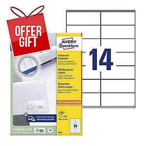 AVERY INKJET/LASER/COPIER LABELS WHITE 3477 - 105 X 41MM - BOX OF 1400