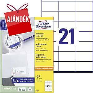 Avery Zweckform 3481 univerzális etikettek 70 x 41 mm, 21 etikett/ív, 100 ív