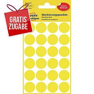 Avery Zweckform 3007 Markierungspunkte, Ø 18 mm, 4 Bogen/96 Etiketten, gelb