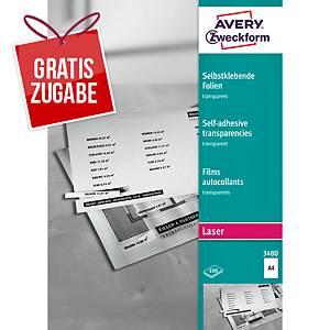 Laserfolie Avery Zweckform 3480, A4, transparent matt, selbstklebend, 100 Blatt