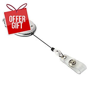 Durable Badge Reel Style White - Pack of 10