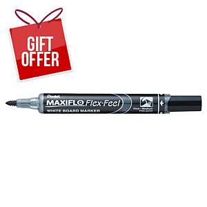 Pentel MWL5SBF Maxiflo Whiteboard Markers Black - Box of 12