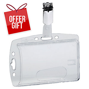 Durable Acrylic Security Pass Holder 54X90mm Transparent - Pack of 40
