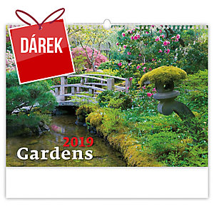 Gardens - měsíční mezinárodní kalendárium, 14 listů, 45 x 31,5 cm
