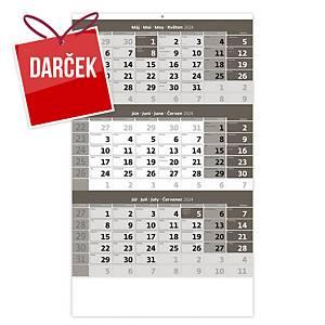 Trojmesačný kalendár šedý s menným kalendáriom - 12 listov, 31,5 x 45 cm