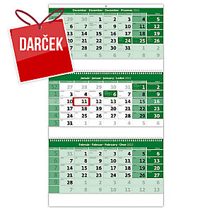 Trojmesačný kalendár zelený so špirálou - 3 x 12 listov, 31,5 x 55,5 cm
