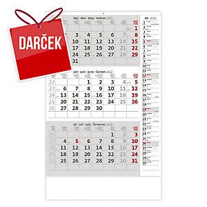 Trojmesačný kalendár šedý s poznámkami - 12 listov, 31,5 x 45 cm