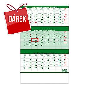 Tříměsíční kalendář zelený se jmenným kalendáriem - 12 listů, 31,5 x 45 cm