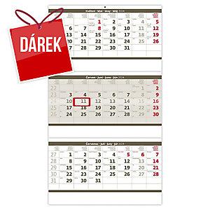 Tříměsíční skládaný šedý - české kalendárium, 3 x 12 listů, 31,5 x 55,5 cm