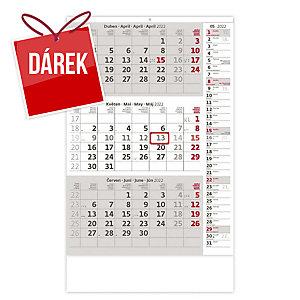 Tříměsíční šedý s poznámkami - české kalendárium, 12 listů, 31,5 x 45 cm