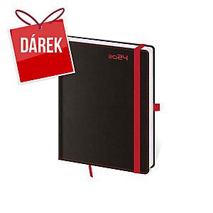 Diář týdenní B6 Black Red s poutkem na pero, 12 x 16,5 cm, 128 stran