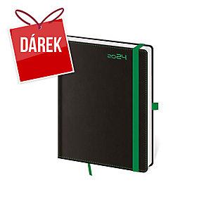 Diář týdenní B6 Black Green s poutkem na pero, 12 x 16,5 cm, 128 stran