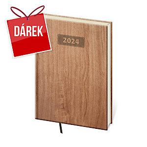 Diář týdenní A5 Wood - světle hnědý, 14,3 x 20,5 cm, 128 stran