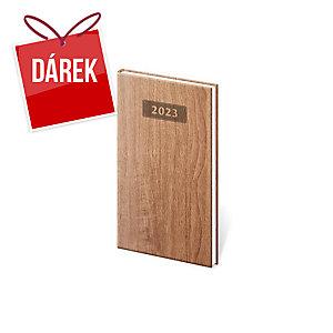 Diář týdenní kapesní Wood - světle hnědý, 8 x 15 cm, 128 stran