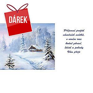 Novoroční přání Stromeček fialový podklad, 20 x 10 cm