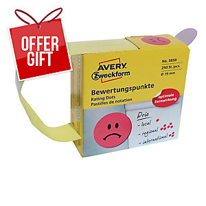 BX250 AVERY 3859 UNHAPPY SMILEY RED