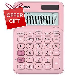 CASIO Ms-20Uc Desktop Calculator 12 Digits Light Pink
