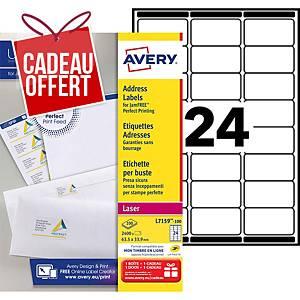 Etiquette adresse Avery - L7159-100 - 63,5 x 33,9 mm - blanche - par 2400