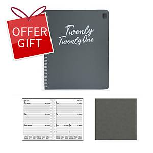 Luxe 57PS Polypropolybe Waterproof Cover Diary A5 Grey