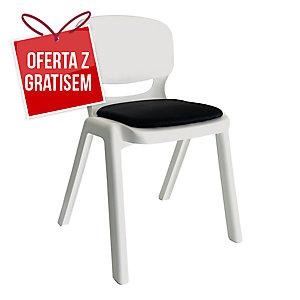 Krzesło ergonomiczne ERGOS, białe z czarną poduszką