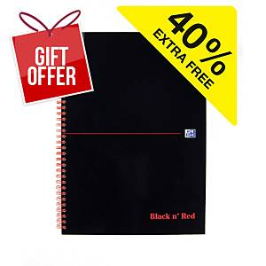 Oxford Black n  Red Notebook A4 Wirebound Ruled - Pack Of 7
