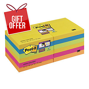 Post-It 654-12Ss-Rio Super Sticky Note 76X76 Pack of 12