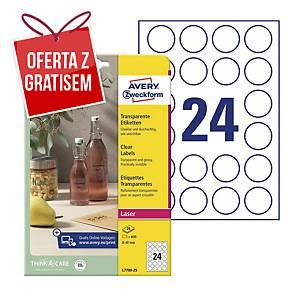 Etykiety przezroczyste Crystal Clear Avery Zweckform, Ø40 mm, 600 etykiet*