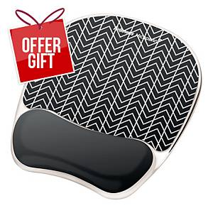 Fellowes 9653401 Photo Gel Mousepad Wrist Support - Chevron