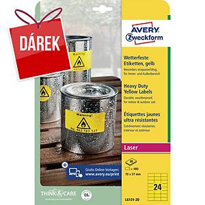 Velmi odolné etikety Avery, L6131, 70 x 37 mm, žluté
