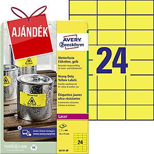 BX480 Avery L6131 ellenálló etikettek, 70 x 37 mm, sárga