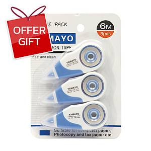 YAMAYO YM-230-3 CORRECTION TAPE 5 MM X 6 M - PACK OF 3