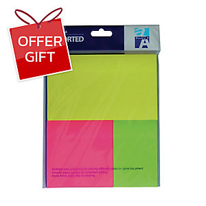 DOUBLE A AN32325 NOTEPAD ASSORTED COLOURS NEON