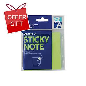 DOUBLE A STICKY NOTE 76X76MILLIMETERS NEON LIME