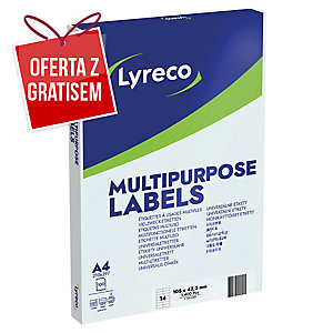 Etykiety uniwersalne LYRECO 105x42,3 mm, w opakowaniu 1400 etykiet