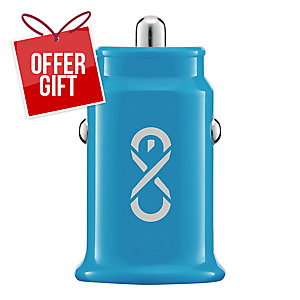 EXC SHINE CAR CHARGER 2XUSB 3.1A BLU