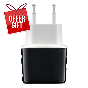 EXC SHINE WALL CHARGER 2XUSB 3.1A BLK