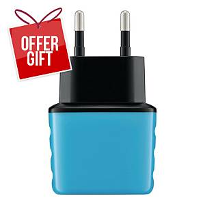 EXC SHINE WALL CHARGER 2XUSB 3.1A BLU
