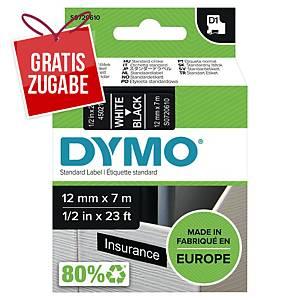Schriftband Dymo D1 45021, Breite: 12mm, weiß auf schwarz