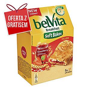 Ciastka BELVITA zbożowe z nadzieniem truskawkowym, 5 ciasteczek, 250 g
