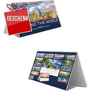Tischkalender Simplex, around the world, 3 Monate pro Blatt