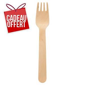 Fourchette en bois Duni - 16 cm - paquet de 100