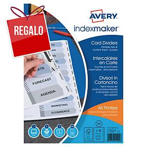 Juego de 12 separadores índice Avery Index Maker - A4 - cartulina - blanco