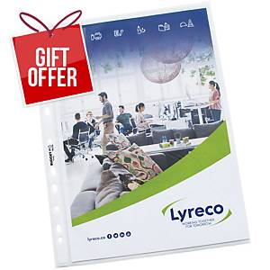 Lyreco Budget A4 Multi-Punched Plastic Pockets 55 Microns - Pack Of 100