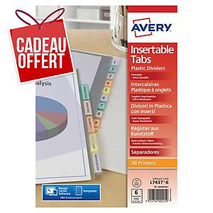 Intercalaire Avery A4+ - personnalisable - polypropylène - 6 touches
