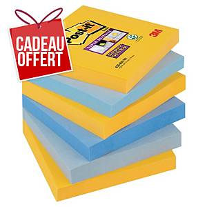 Notes Post-it Super Sticky - 76 x 76 mm - New York - 6 blocs x 90 feuilles